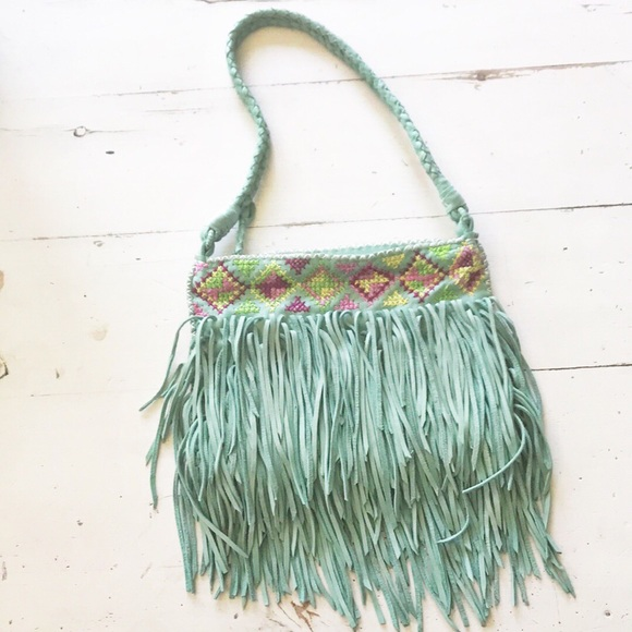 En Shalla mint green fringe purse ~ Anthropologie
